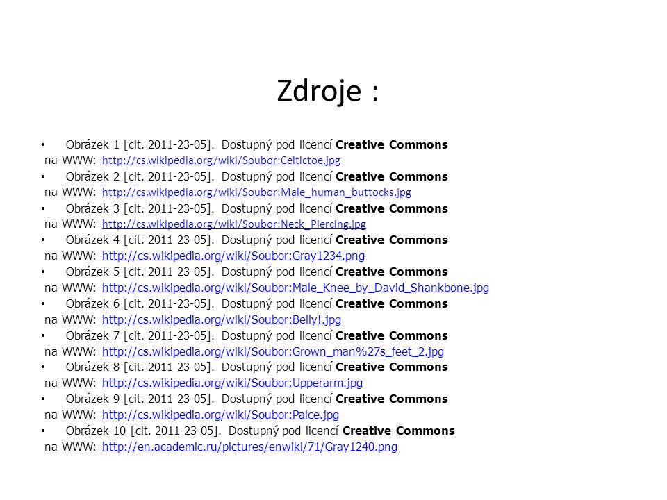 Zdroje : Obrázek 1 [cit. 2011-23-05]. Dostupný pod licencí Creative Commons. na WWW: http://cs.wikipedia.org/wiki/Soubor:Celtictoe.jpg.